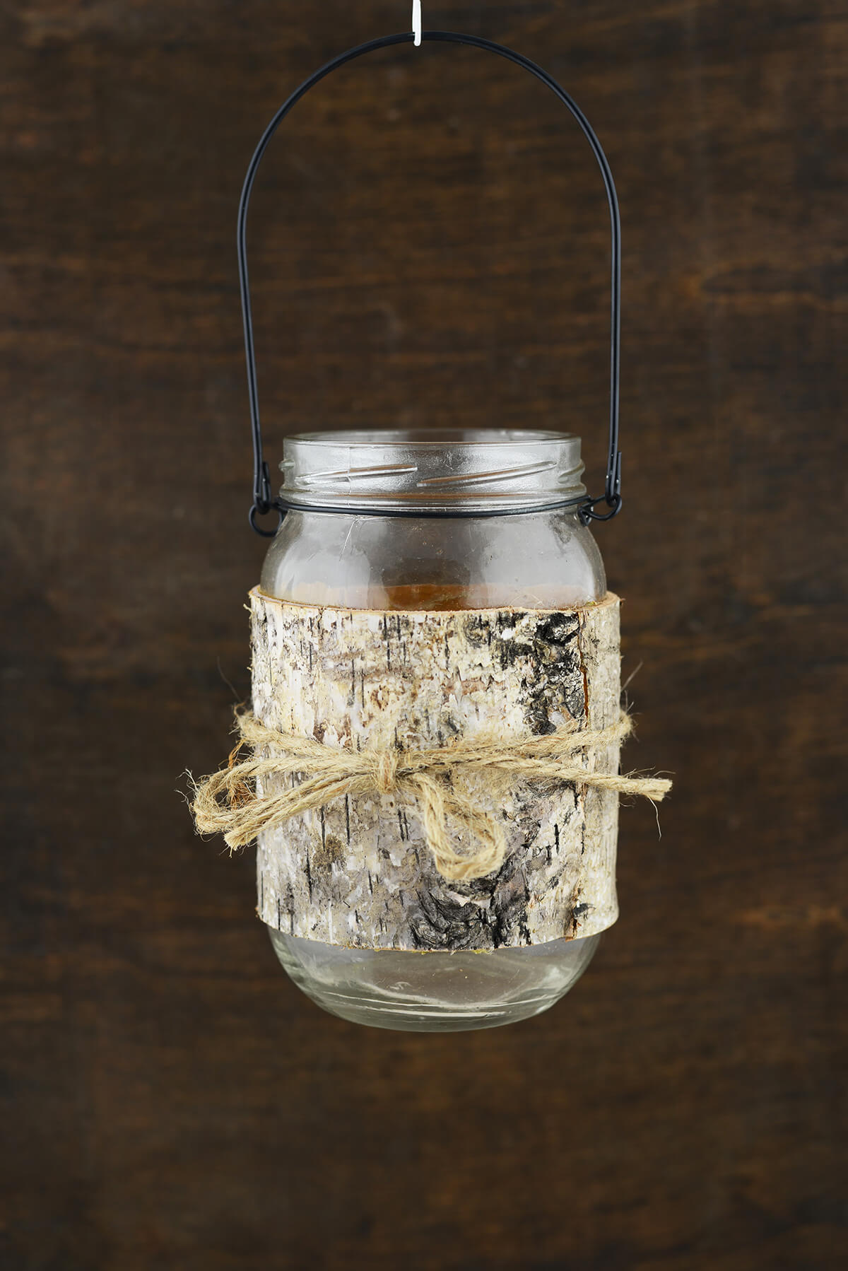 Birch Wrapped Mason Jar Candle Holder 6in