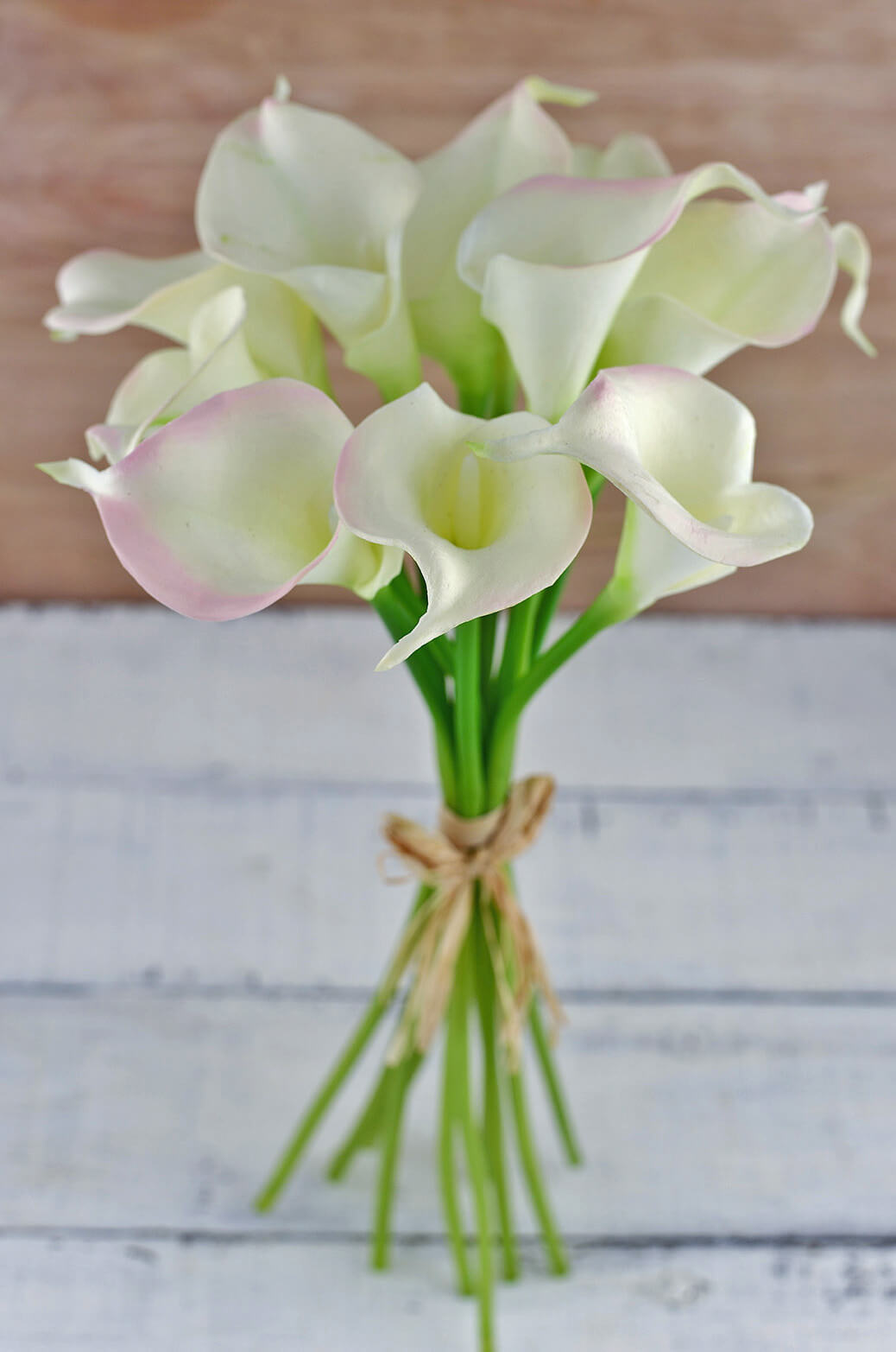 Natural Touch Hand Tied Calla Blush Amp Cream Lily Wedding