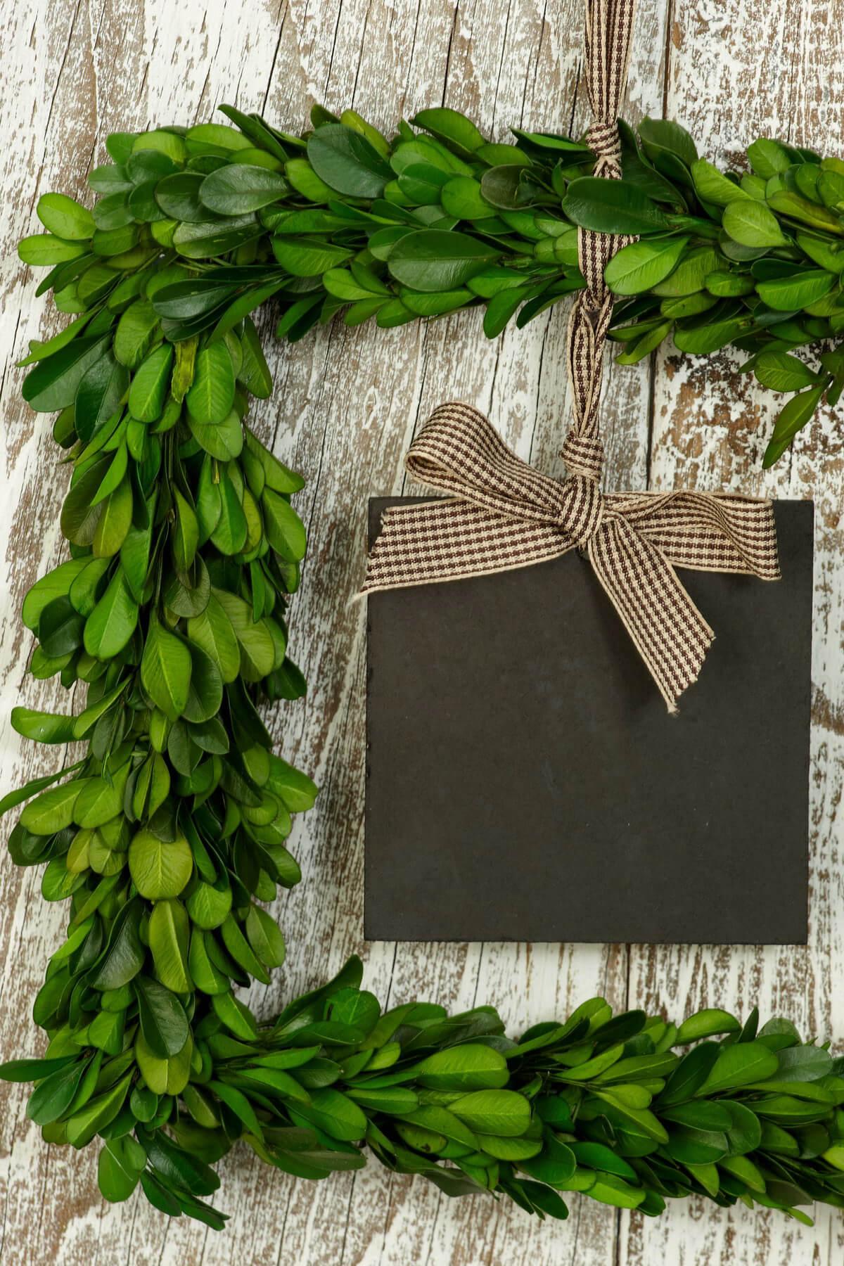 Square 85 Preserved Boxwood Wreath Blackboard