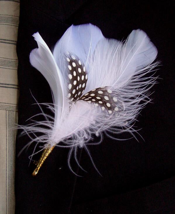 White Amp Black Quail Feather Boutonniere