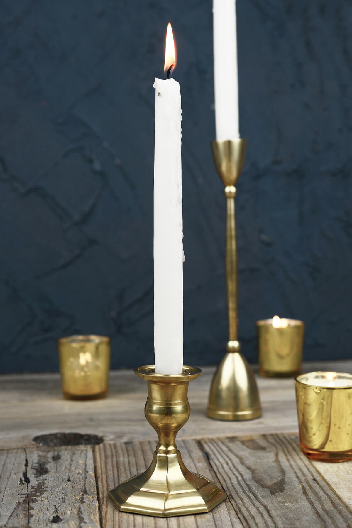 Gold Metal 3 Taper Candle Holder Antique Candlestick