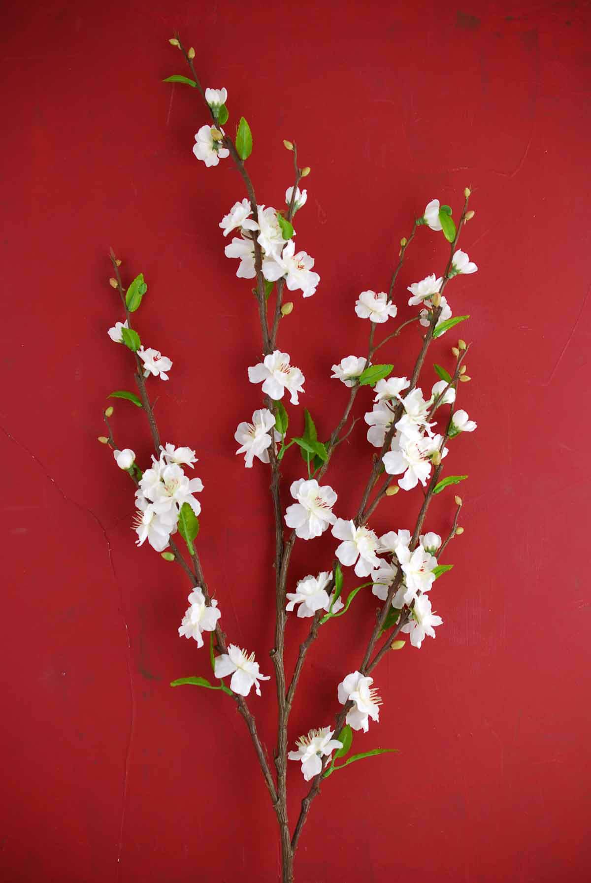 White Silk Cherry Blossom Branches 39