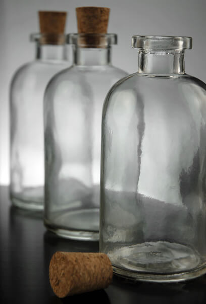 12 Clear Glass 8oz Apothecary Bottles With Cork Tops