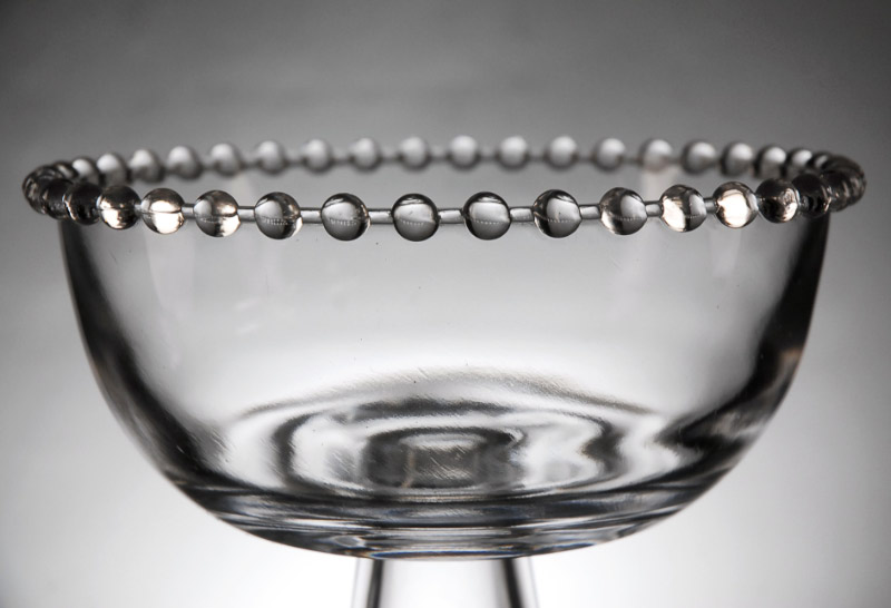 Clear Glass Beaded Pedestal Bowl
