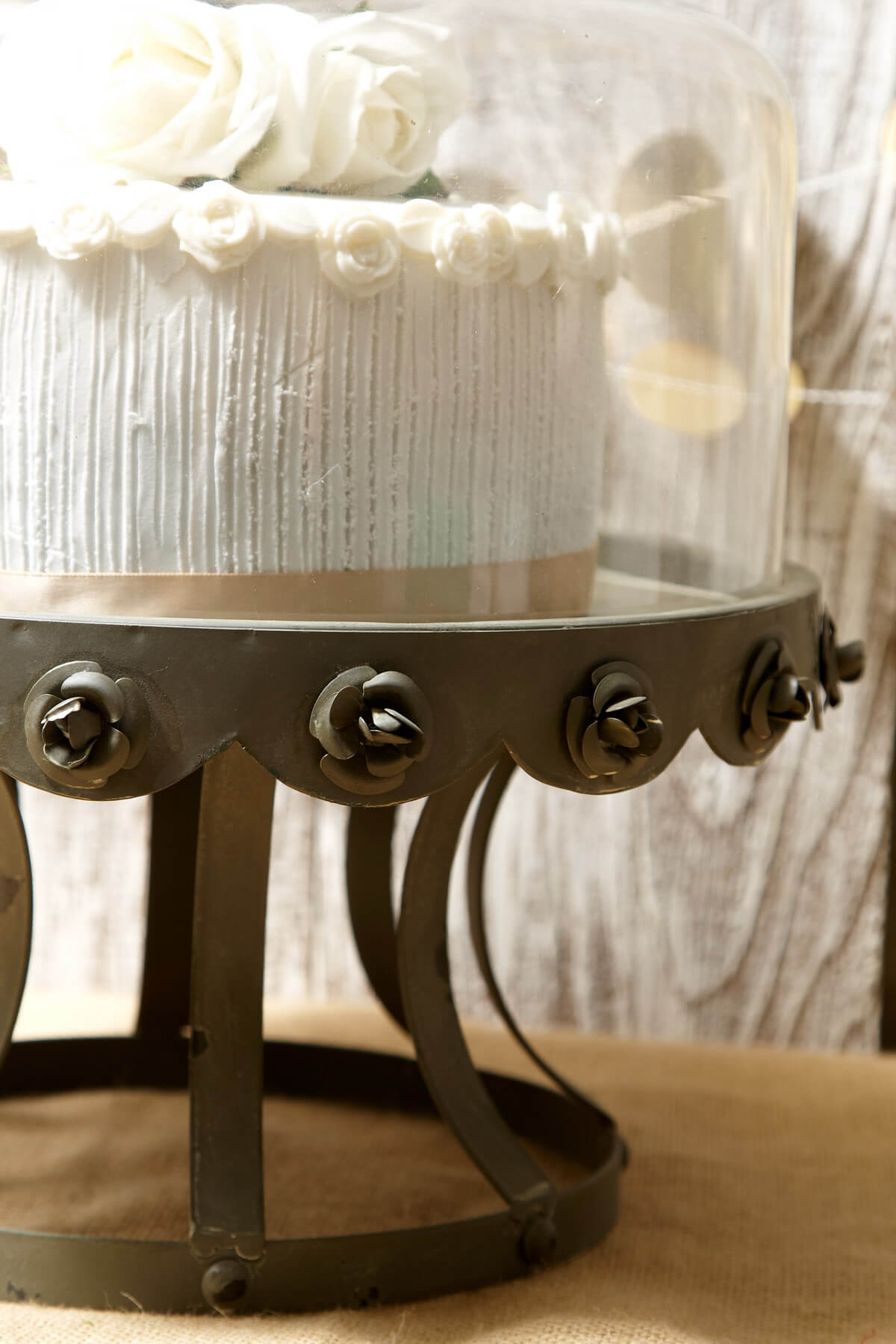 Glass Dome Covered Zinc Rustic Cake Stand 13in