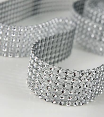 Diamond Mesh Wrap 6 Rows Rhinestone Ribbon 10ft Simulated