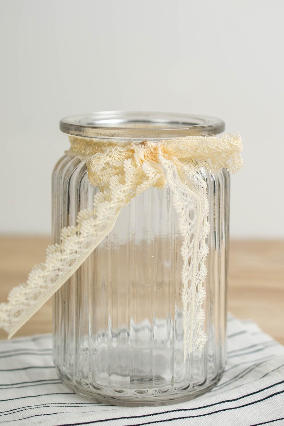Lattice Glass Jar Vase 55in Ivory Lace Bow