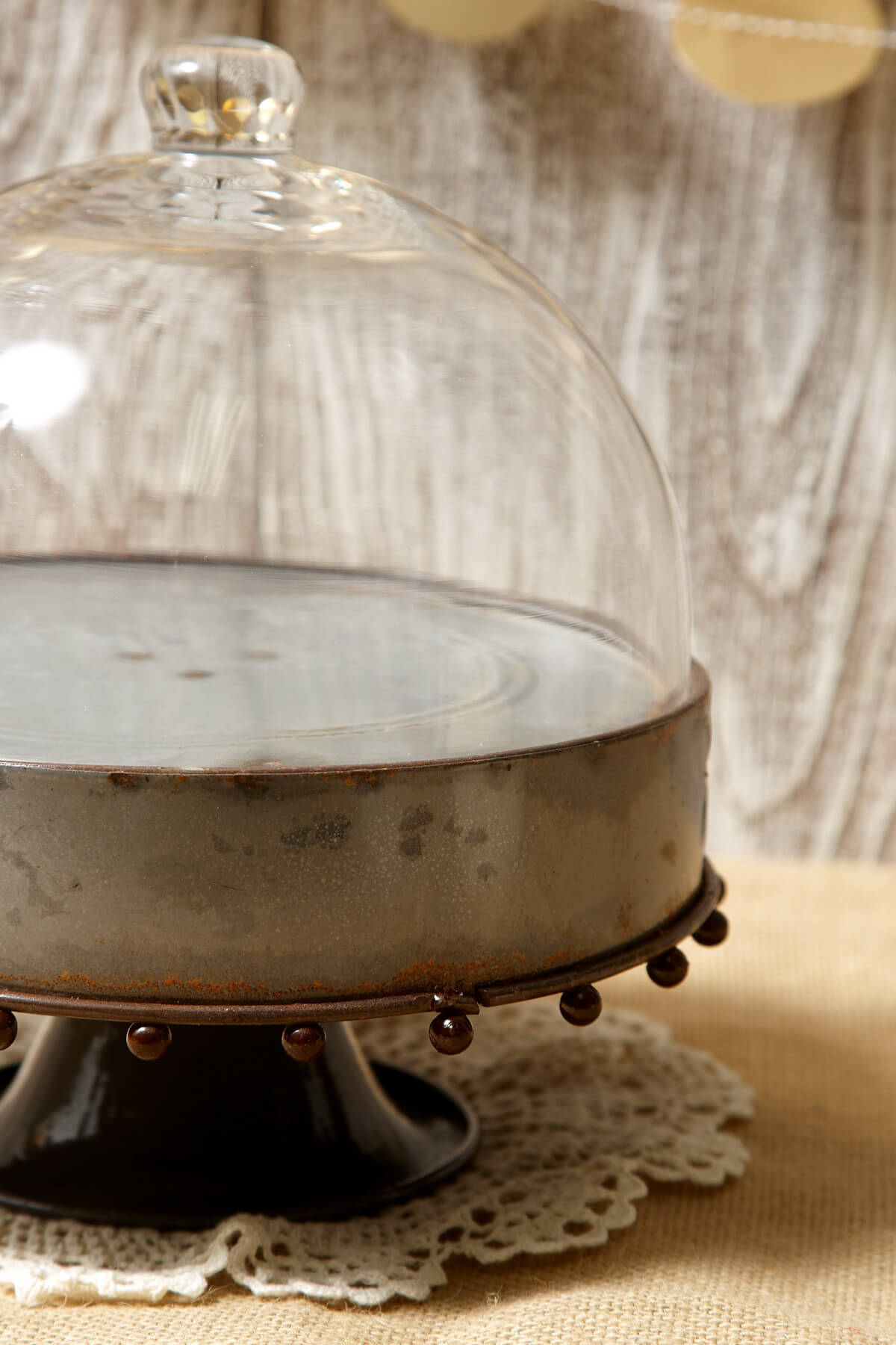Metal Rustic Zinc Cake Stand With Glass Cloche 825in