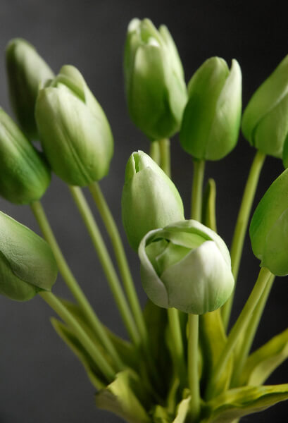 Natural Touch Silk Flower Mini Green Tulip Bouquet 14
