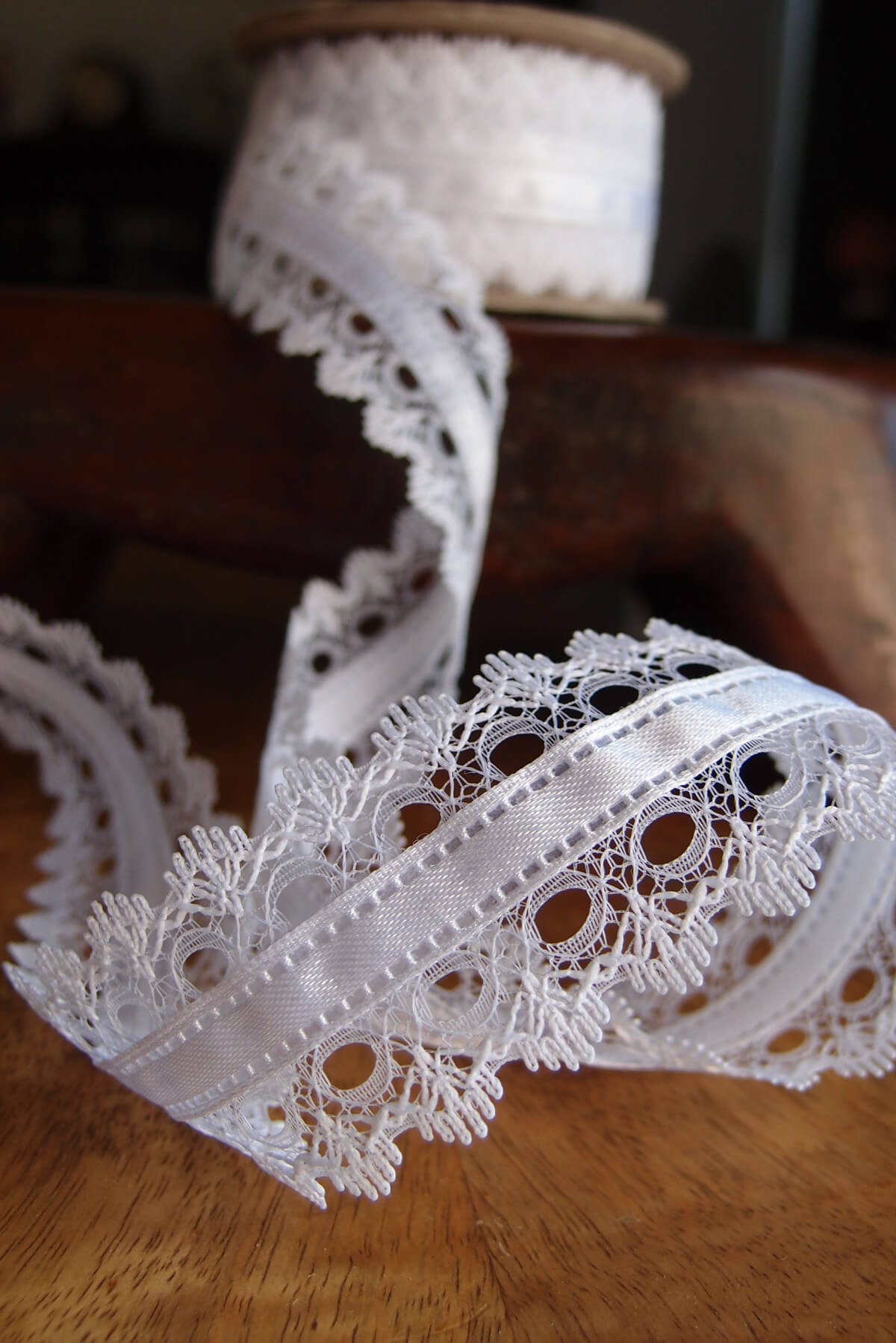 White Lace With White Satin Ribbon 15 Width X 9yd