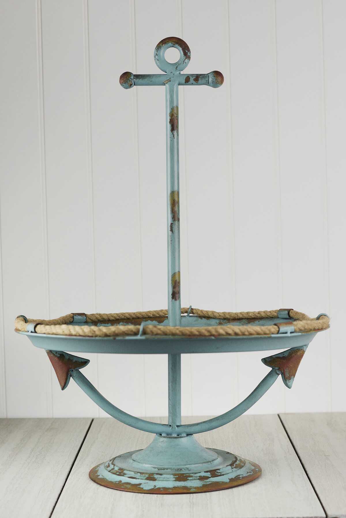 Blue Antiqued Nautical 1 Tier Display Stand