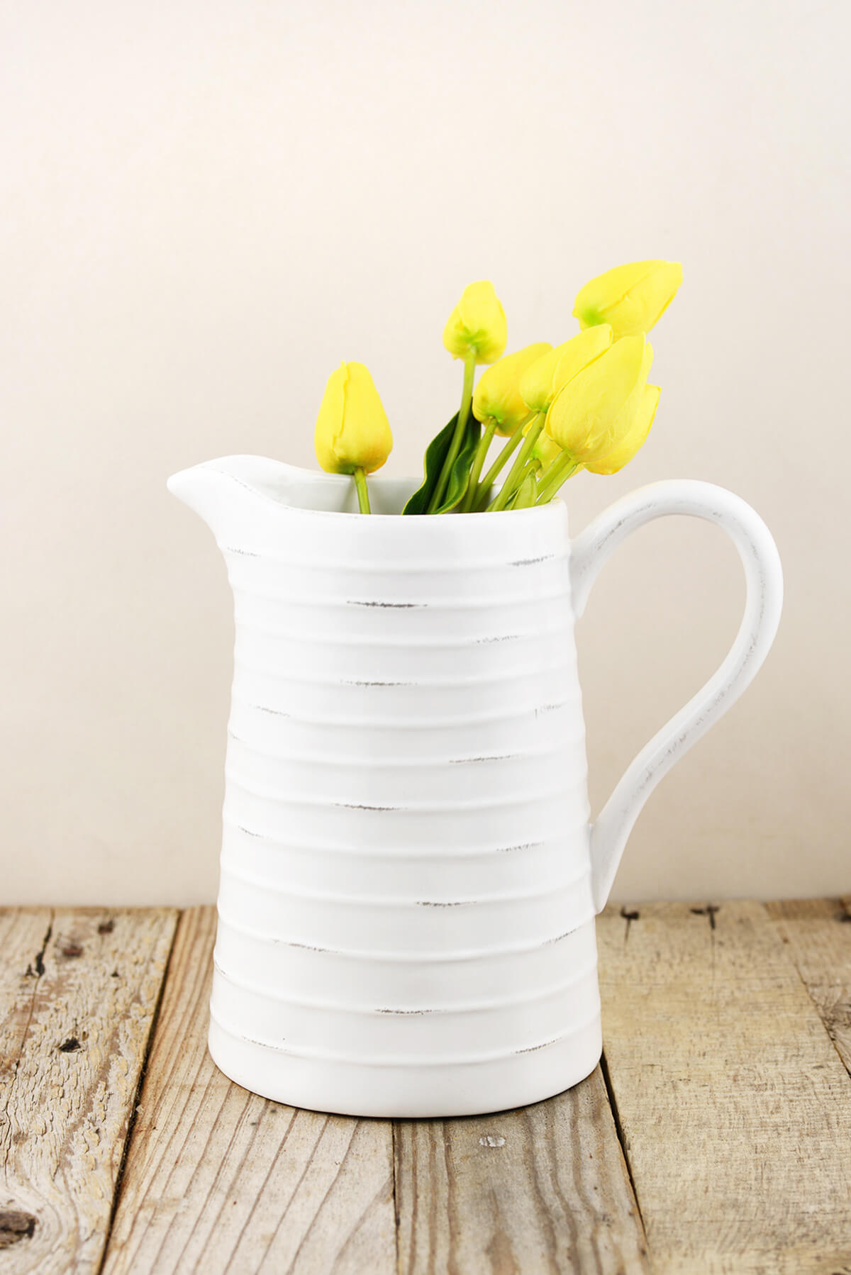 Farmhouse White Ceramic Pitcher 85in