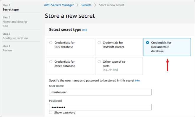 """Figure 2: Select """"Credentials for DocumentDB database"""""""