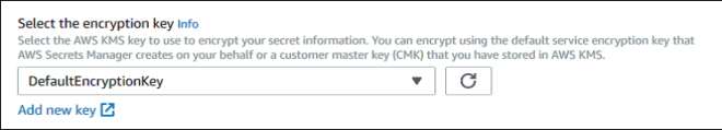 Figure 3: Select the default or your CMK