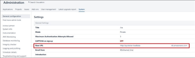Figure 6 - Base URL in JIRA