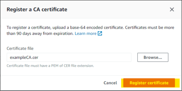 Figure 6: Register a CA certificate