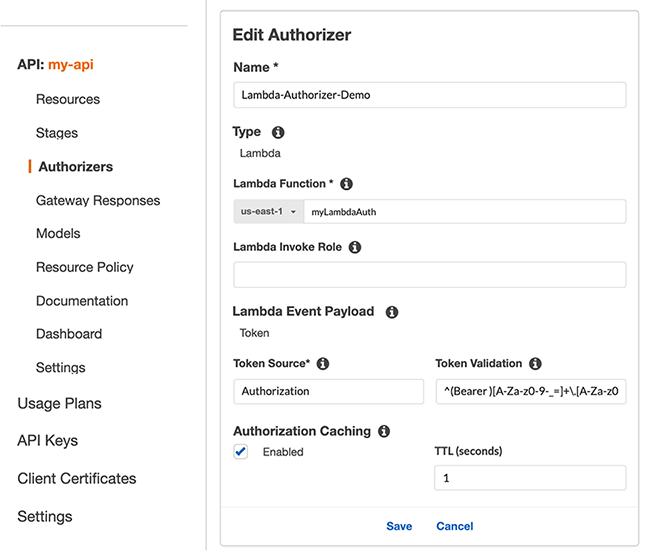 Figure 2: Create a new Lambda authorizer