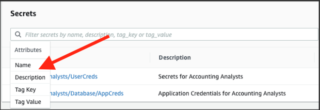 Figure 1: Secrets Manager search attributes