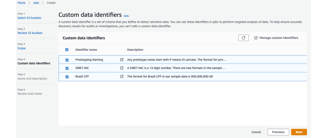 Figure 9: Select your custom data identifiers