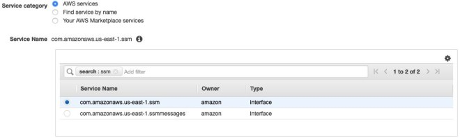 Figure 2: AWS PrivateLink service selection filter