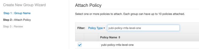 Figure 7: Attach the policy to the IAM group