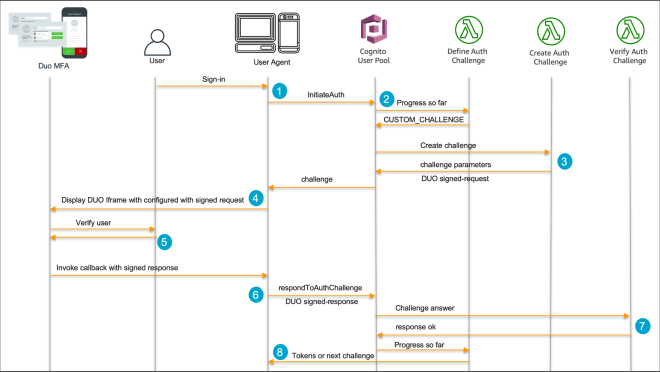 Figure 1: User authentication process for the custom authentication flow