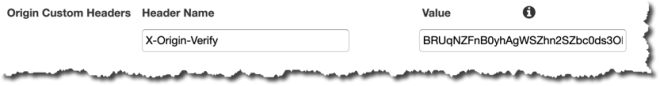 Figure 7: CloudFront Origin Custom Headers settings