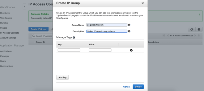 Figure 5: Creating an IP group