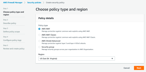 Figure 2: Choosing the policy type