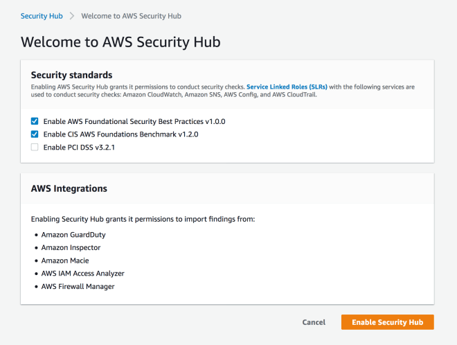 Figure 5: Enabling Security Hub for first time
