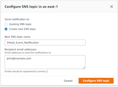 Figure 7: Configure an SNS topic in a Region