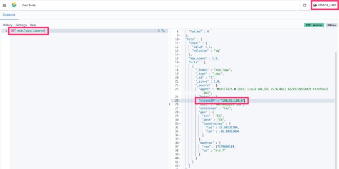 Figure 10: Retrieval of the full clientIP data with kibana_user