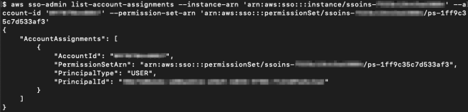 Figure 20: View the permission set and the user or group attached to the AWS account