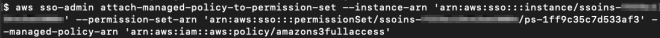 Figure 8: Attaching the AWS managed policy amazons3fullaccess to the EC2-S3-FullAccess permission set