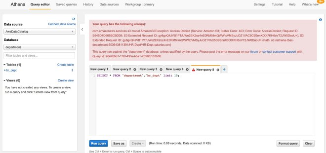 Figure 5: Failed Amazon Athena query