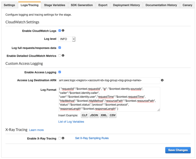Figure 13: Enable access logs in the API Gateway console