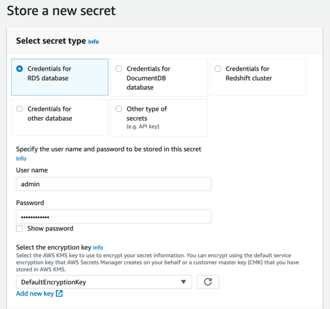 Figure 8: Storing credentials for an RDS database in the Secrets Manager console
