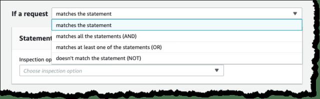 Screenshot of the WAF v2 Boolean operators