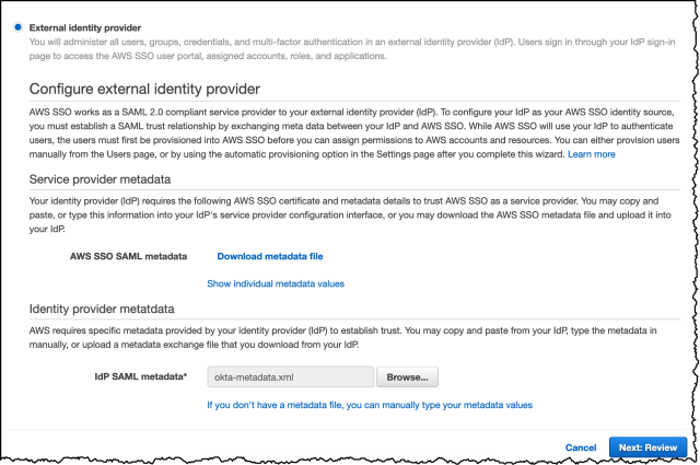 SSO configure metadata