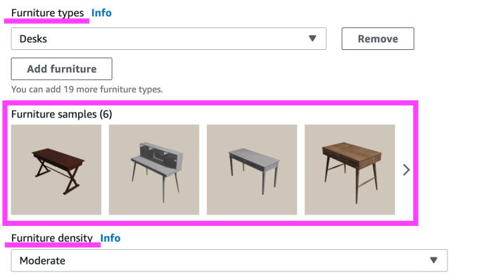 A screenshot from AWS World Forge showing the room furniture selection parameters.