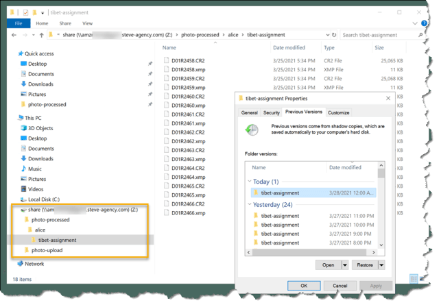 Restoring the file data from shadow copies