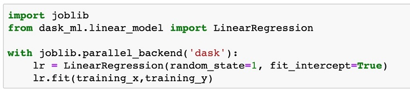 We use the dask_ml.model_selection library to create those datasets, as shown in the following screenshot.