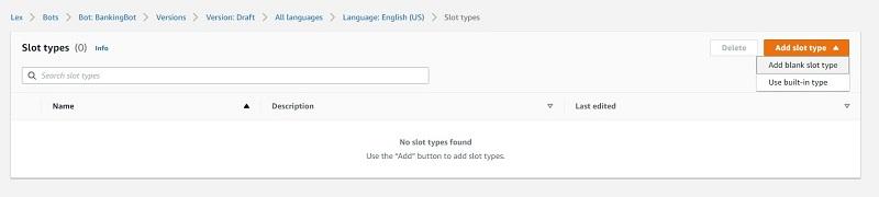 On the Add slot type menu, choose Add blank slot type.