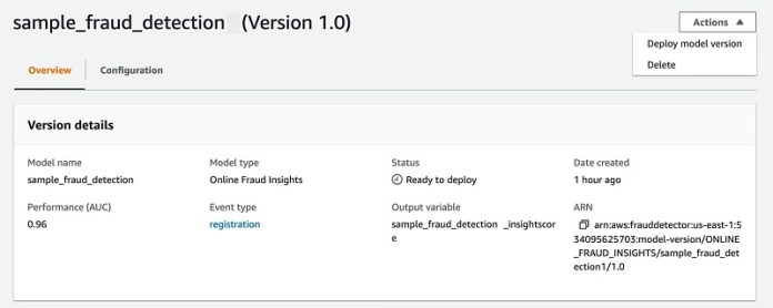 On the model version details page, on the Actions menu, choose Deploy model version.