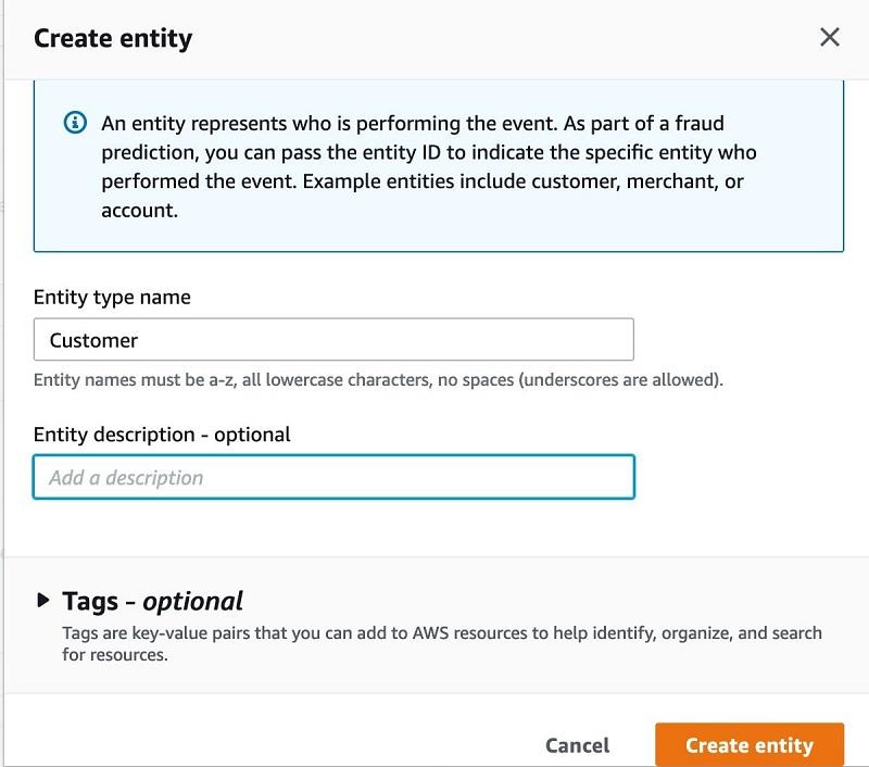 For Entity type name, enter customer.