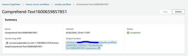 his bucket is located under Output location on the workflow details page.