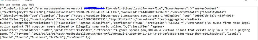 The following screenshot shows the human-annotated output file output.json in the S3 bucket.
