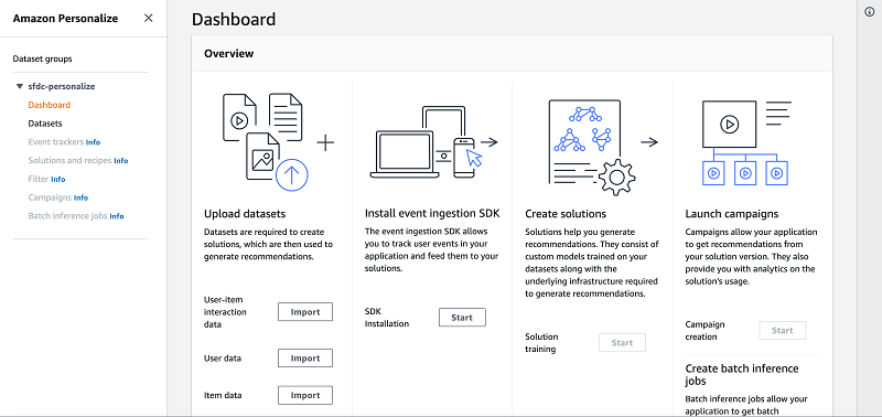 On the Dashboard page for your dataset groups, under Upload datasets,
