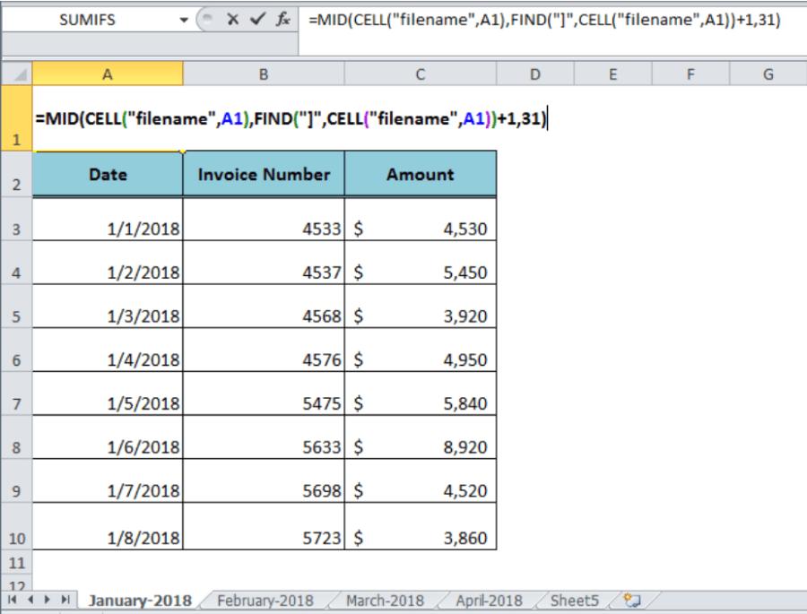 Excel Formula Get Sheet Name Only