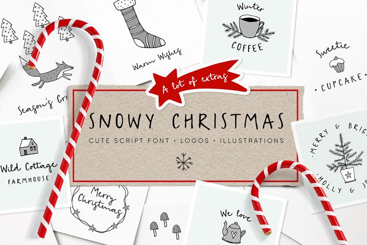Free Snowy Christmas script font & logos Fontscripts